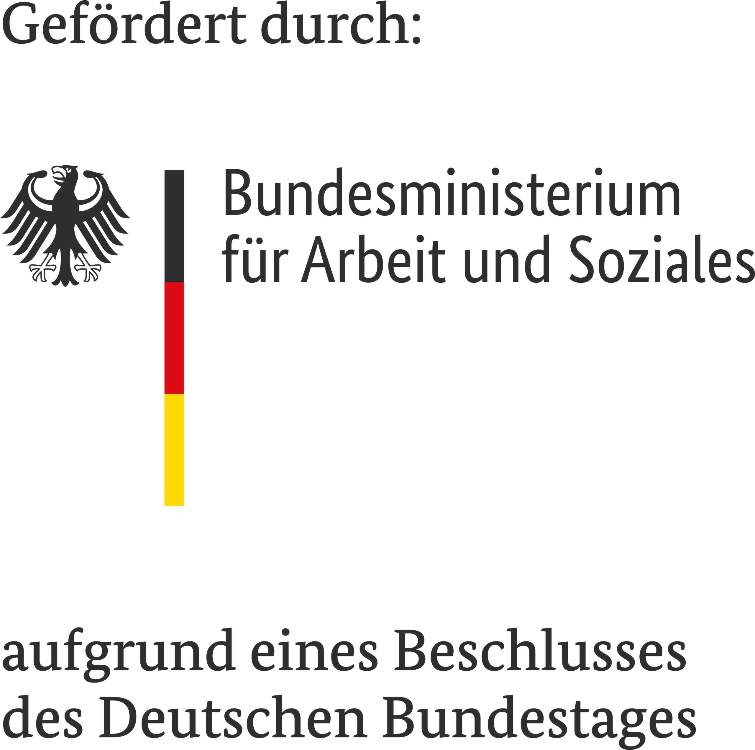 Förderhinweis mit Logo des Bundesministerium für Arbeit und Soziales